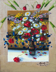 flowers, picture oil paints on a canvas
