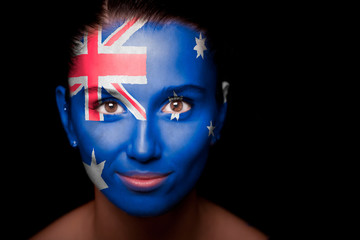 Portrait of a woman with the flag of the Australia