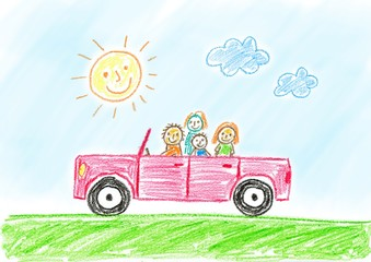 Drawing of red car with family