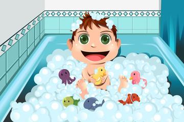 Baby taking bubble bath