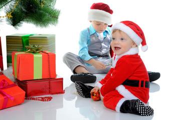 Cheerful boy in Santa Claus hat