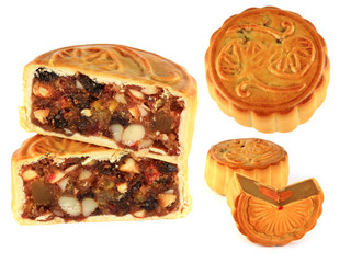 different types of mooncake (Durian, Fruitcake)