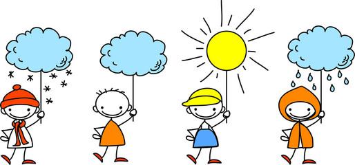 Мальчик держит знак погоды