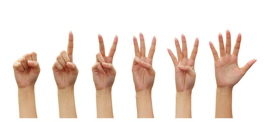 woman hands Counting (numbers zero to five) isolated