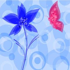fiore e farfalla