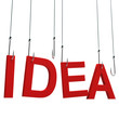 "Text ""Idea"" hanging on a fishing hook. Isolated over white"