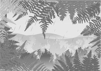 rain in grey forest illustration