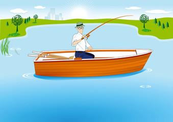 Angeln im Boot