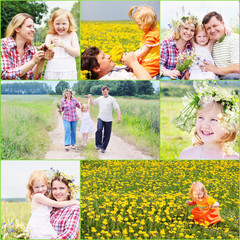happy family with flowers