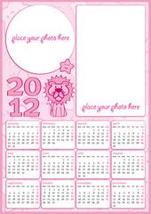 Calendario 2012 rosa da bambina in inglese