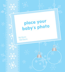 Christmas template frame for baby photo