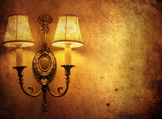 old background with classic wall lamp