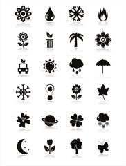 set of 21 black nature icons