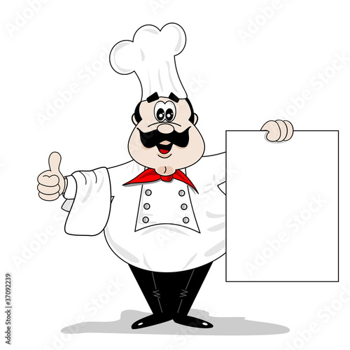 cartoon chef cook with blank recipe menu board stock image and royalty free vector files on. Black Bedroom Furniture Sets. Home Design Ideas