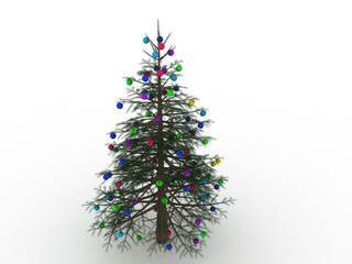 Green Christmas tree with toys on a white background №7