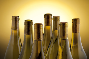 Fototapete - White wine bottles back lit by a yellow spot light