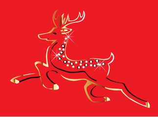 Christmas reindeer gold