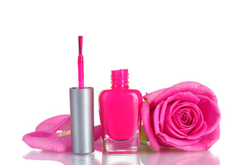 Pink nail polish with rose on white background