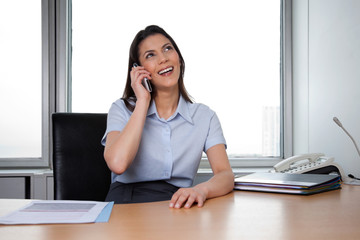 Happy Business woman Talking On Phone