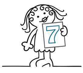 figur nummerngirl zeigt runde 7