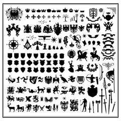 Silhouettes of heraldic design