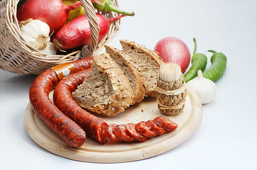 Traditional Romanian sausage with some of its ingredients!