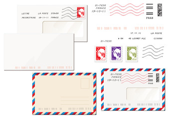 timbres français et enveloppe