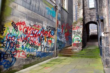 Back alley with graffiti, Edinburgh, Scotland