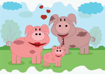 Pigs family