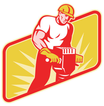 Construction Worker Drilling with Jack Hammer