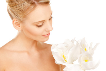 beautiful woman with madonna lily