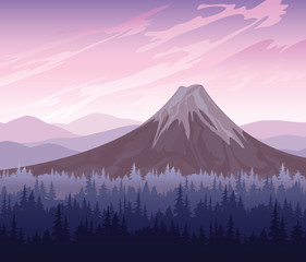 Forest and volcano