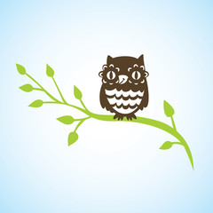 cartoon owl sitting on green branch