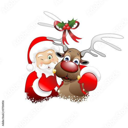 Renne Babbo Natale.Babbo Natale E Renna Cartoon Santa Claus And Reindeer Vector Stock