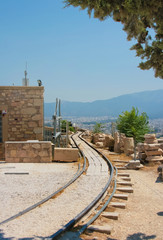 Railway track on Acropolis of Athens