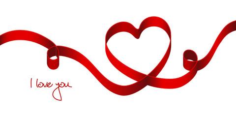 """Red Bow Heart 2 Swirls """"I loye you"""""""