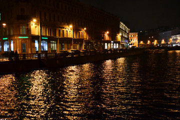 Moika river at night