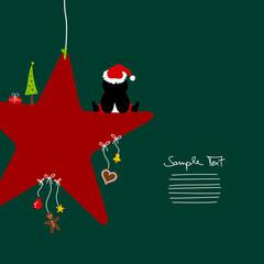 Penguin Sitting On Dark Red Star & Symbols Green