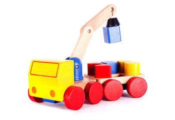 The elevating crane, children's wooden toy.