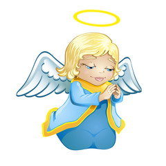 little angel in blue isolated
