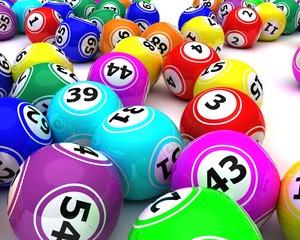 a set of colouored bingo balls