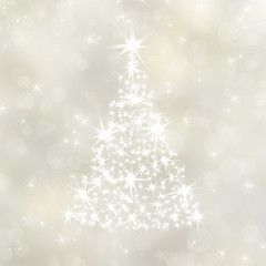 Christmas background with white fir-tree and stars