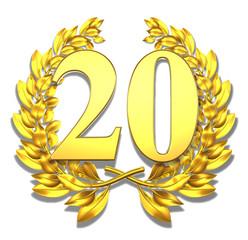 20 twenty number laurel wreath