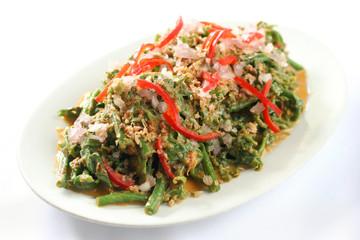 Nyona sayur paku chopped onion and chili
