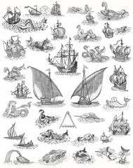 Old boats and monsters set