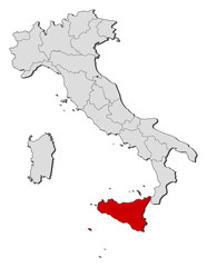 Map of Italy, Secely highlighted