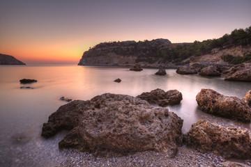Fototapeta Wschód słońca w Grezji. Fotografia HDR Anthony Quinn Bay. obraz