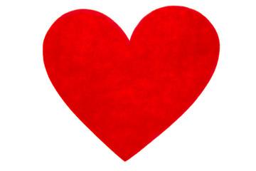Red felt heart isolated on white