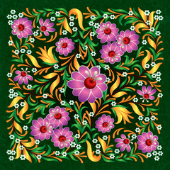 abstract floral ornament on grunge background