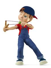 boy hunting with a slingshotside